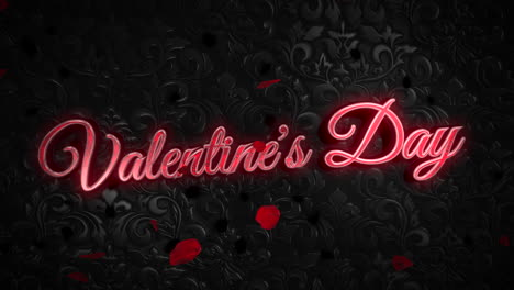 Animated-closeup-Valentine-Day-text-and-motion-leafs-of-roses-on-Valentine-day-shiny-background