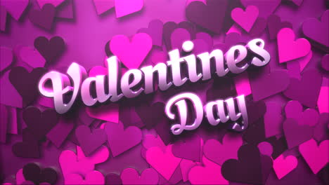 Animated-closeup-Valentine-Day-text-and-motion-small-pink-romantic-heart-on-Valentine-day-shiny-background