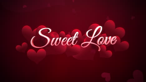 Animated-closeup-Sweet-Love-text-and-motion-romantic-small-red-hearts-on-Valentines-day-shiny-background