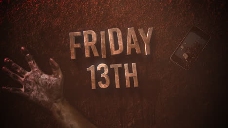 Animation-text-Friday-13th-on-mystical-horror-background-with-dark-blood-hands-and-telephone