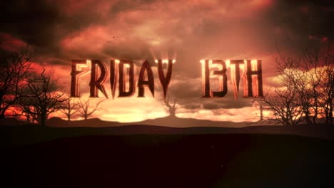 Animation-text-Friday-13th-and-mystical-animation-halloween-background-with-dark-clouds-and-mountains