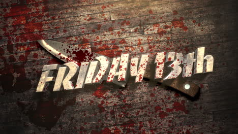 Animation-text-Friday-13th-on-mystical-horror-background-with-dark-bloody-and-knife-on-wood