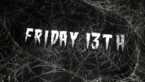Animation-text-Friday-13th-and-mystical-horror-background-with-dark-spiderweb-abstract-backdrop