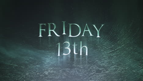 Animation-text-Friday-13th-on-mystical-horror-background-with-dark-smoke-and-motion-camera