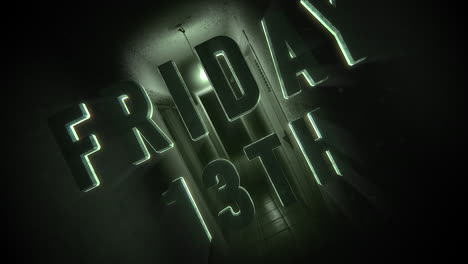 Animation-text-Friday-13th-on-mystical-horror-background-with-dark-hall-of-room