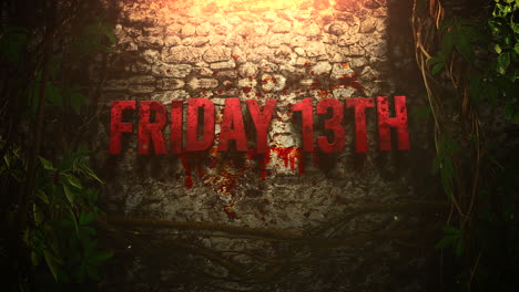 Animation-text-Friday-13th-and-mystical-horror-background-with-dark-blood-and-motion-camera