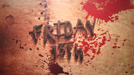 Animation-text-Friday-13th-and-mystical-horror-background-with-dark-bloode