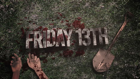 Animated-text-Friday-13th-and-mystical-horror-background-with-dark-blood-hands-and-shovel