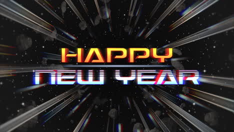 Animation-intro-text-Happy-New-Year-and-abstract-lines-in-galaxy-retro-holiday-background