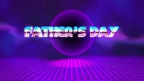 Animation-text-Fathers-day-and-retro-abstract-circle-with-grid-retro-holiday-background