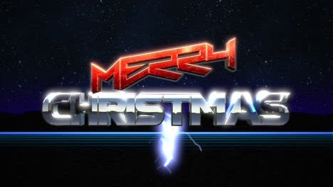 Animation-intro-text-Merry-Christmas-and-thunderbolt-retro-holiday-background