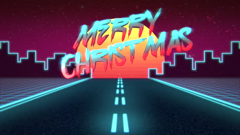 Animation-intro-text-Merry-Christmas-and-mountain-with-road-and-city-retro-background
