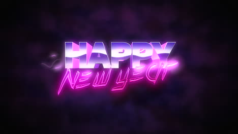 Animation-intro-text-Happy-New-Year-and-thunderbolt-retro-holiday-background