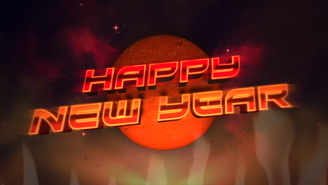 Animationstext-Frohes-Neues-Jahr-Und-Retro-Abstrakter-Kreis-Und-Feuer-Retro-Urlaubshintergrund