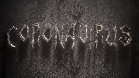 Animated-closeup-text-Coronavirus-and-mystical-horror-background-with-dark-hall-of-room