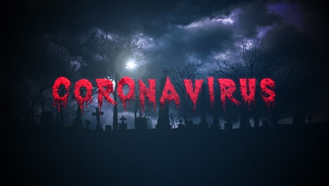 Animated-closeup-text-Coronavirus-and-mystical-background-with-dark-clouds-and-grave-on-cemetery