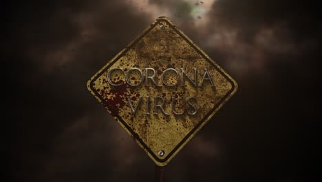 Animated-closeup-text-Coronavirus-and-mystical-horror-background-with-road-sign-and-dark-blood