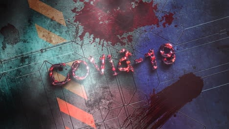 Animated-closeup-text-Covid19-and-mystical-horror-background-with-dark-blood-on-wall