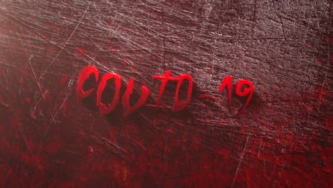 Animated-closeup-text-Covid19-and-mystical-horror-background-with-dark-bloode