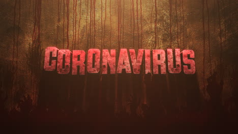 Animated-closeup-text-Coronavirus-and-mystical-horror-background-with-dark-blood-and-help-hands
