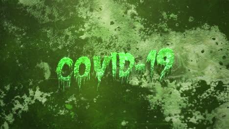 Primer-Plano-Animado-Texto-Covid19-Y-Fondo-De-Terror-Místico-Con-Sangre-Oscura-Y-Cámara-De-Movimiento
