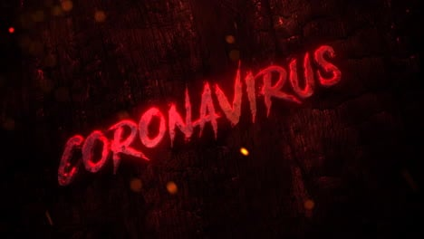 Animated-closeup-text-Coronavirus-and-mystical-horror-background-with-dark-bloode