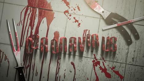 Coronavirus-De-Texto-De-Primer-Plano-Animado-Y-Fondo-De-Horror-Místico-Con-Sangre-Oscura-E-Instrumentos-Médicos