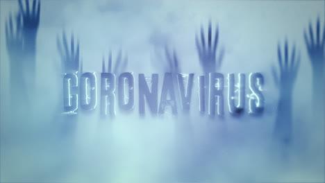 Coronavirus-De-Texto-De-Primer-Plano-Animado-Y-Fondo-De-Horror-Místico-Con-Las-Manos-Detrás-Del-Vidrio