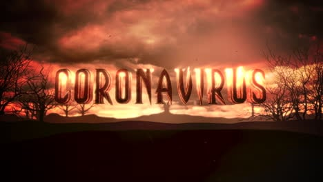 Animation-text-Coronavirus-and-mystical-animation-halloween-background-with-dark-clouds-and-mountains