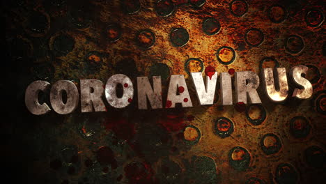 Animated-closeup-text-Coronavirus-and-mystical-horror-background-with-dark-blood