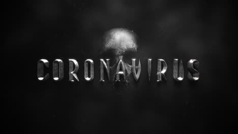 Animated-closeup-text-Coronavirus-and-mystical-horror-background-with-dark-skull