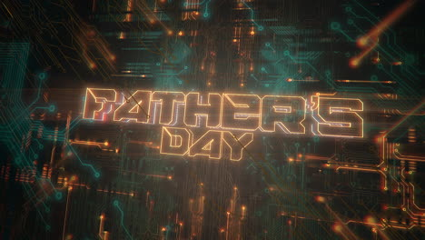 Animation-text-Fathers-day-and-cyberpunk-animation-background-with-computer-chip-and-neon-lights