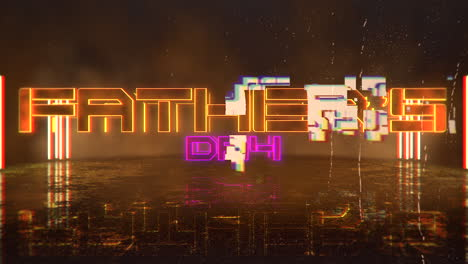 Animation-text-Fathers-day-and-cyberpunk-animation-background-with-neon-lights-on-wall-of-city