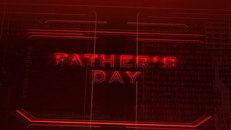 Animation-text-Fathers-day-and-cyberpunk-animation-background-with-computer-matrix-numbers-and-grid