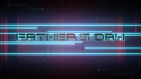 Animation-text-Fathers-day-and-cyberpunk-animation-background-with-computer-matrix-numbers-and-neon-lines