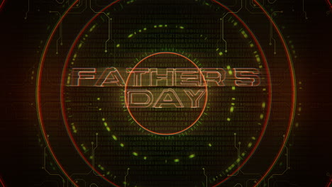 Animation-text-Fathers-day-and-cyberpunk-animation-background-with-computer-matrix-numbers-and-hud-circle