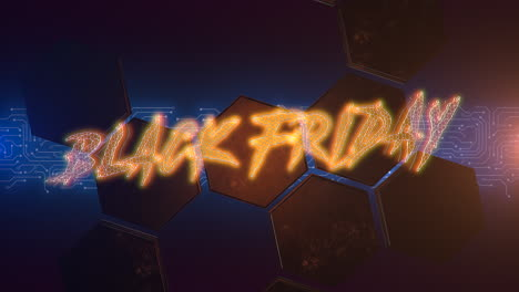 Animation-intro-text-Black-Friday-and-cyberpunk-animation-background-with-hexagon-shape-and-neón-lights