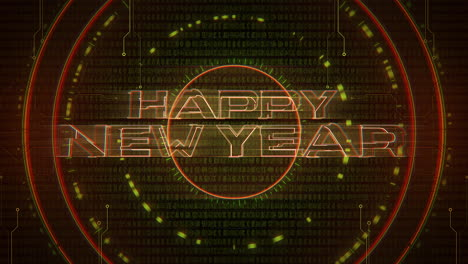 Animation-intro-text-Happy-New-Year-and-cyberpunk-animation-background-with-computer-matrix-numbers-and-circles