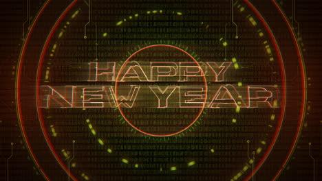 Animations-Introtext-Frohes-Neues-Jahr-Und-Cyberpunk-Animationshintergrund-Mit-Computermatrixnummern-Und-Kreisen