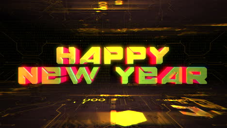 Animation-text-Happy-New-Year-and-cyberpunk-animation-background-with-computer-chip-and-neon-lights