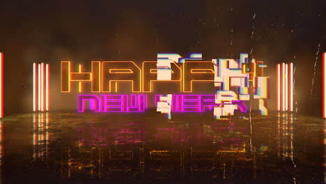 Animation-intro-text-Happy-New-Year-and-cyberpunk-animation-background-with-neon-lights-on-street-of-city