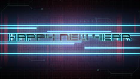Texto-De-Introducción-De-Animación-Feliz-Año-Nuevo-Y-Fondo-De-Animación-Cyberpunk-Con-Matriz-De-Computadora-Y-Líneas-De-Neón