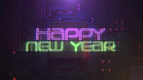 Animation-intro-text-Happy-New-Year-and-cyberpunk-animation-background-with-computer-chip-and-neon-lights