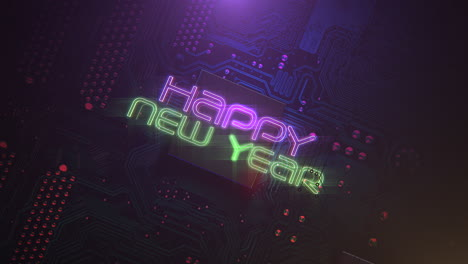 Animation-text-Happy-New-Year-and-cyberpunk-animation-background-with-computer-chip-and-neon-lights-1