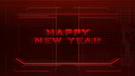 Animation-intro-text-Happy-New-Year-and-cyberpunk-animation-background-with-computer-matrix-numbers-and-grid