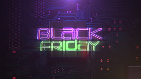 Animation-intro-text-Black-Friday-and-cyberpunk-animation-background-with-computer-chip-and-neon-lights