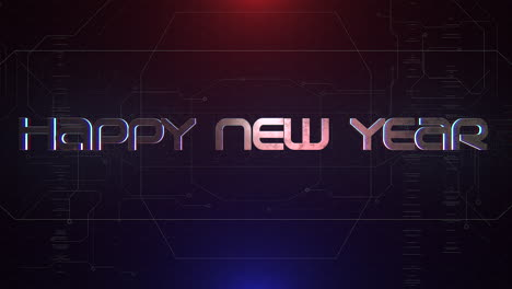 Animation-intro-text-Happy-New-Year-and-cyberpunk-animation-background-with-computer-matrix-numbers-and-grid-1
