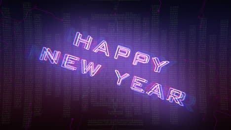 Animation-text-Happy-New-Year-and-cyberpunk-animation-background-with-computer-matrix-numbers-and-grid