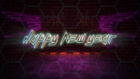 Animation-text-Happy-New-Year-and-cyberpunk-animation-background-with-computer-matrix-numbers-and-grid-1