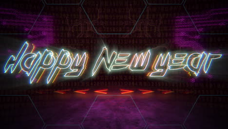 Animation-intro-text-Happy-New-Year-and-cyberpunk-animation-background-with-computer-matrix-numbers-and-grid-2